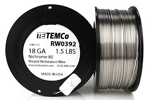 Price comparison product image TEMCo Nichrome 80 series wire 18 Gauge 1.5 lb (322.5ft) Resistance AWG ga