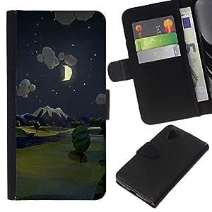 For LG Nexus 5 D820 D821 Case , Painting Night Moon Nature - la tarjeta de Crédito Slots PU Funda de cuero Monedero caso cubierta de piel
