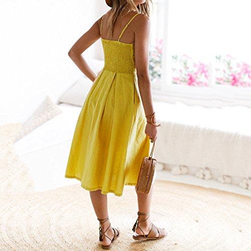 350dfa7ddb10ad ... Party Urlaub Sommer Strand Kleid Damen Schnürschuhe Bowknot Burfly Frauen  Kleid Buttons Gelb ...