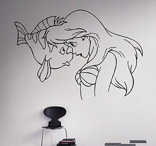 Princess Ariel Vinyl Decal Little Mermaid Wall Sticker Disney Cartoons Home Interior Children's Nursery Room Decor 10(arl)
