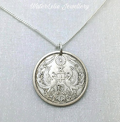 Silver coin necklace. Antique Japanese silver coin. Phoenix necklace.