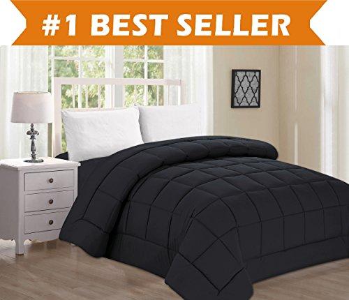 Best Selling Luxury Comforter on Amazon! Elegant Comfort Ultra Plush Down Alternative Double-Filled Comforter %100 HypoAllergenic, Twin/Twin XL , Black (At Last Sleeping Christmas)