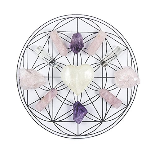 Beverly Oaks ENERGY INFUSED Healing Crystals Grid - LOVE & CONNECTION Gemstone Gridding Set - Featuring Amethyst, Selenite, Rose Quartz and Clear Quartz