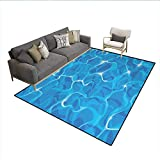 Carpet,Realistic Vivid Illustration Water Texture Freshness Ocean Pool Surface Waves,Non Slip Rug Pad,Blue