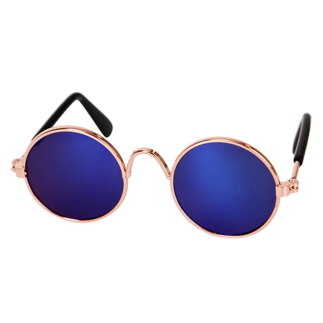 OOEOO Funny UV Sun Circular Glasses Eye Protection Wear Puppy Costume Cool Yellow, metal Pet Cat Dog Sunglasses