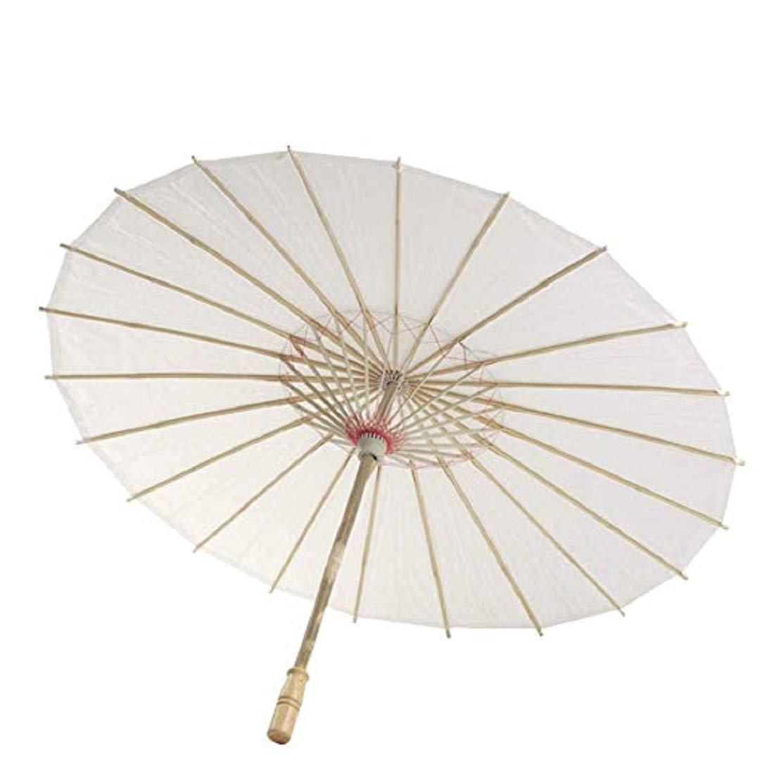 Blanc, 22CM Chinois en Bambou Parasol Parapluie,Vennisa Blanc Mariage Tournage Parasol Fait /à La Main Ombrelle Mariage Parasol Mariage D/écor Danse Photo Cosplay Prop
