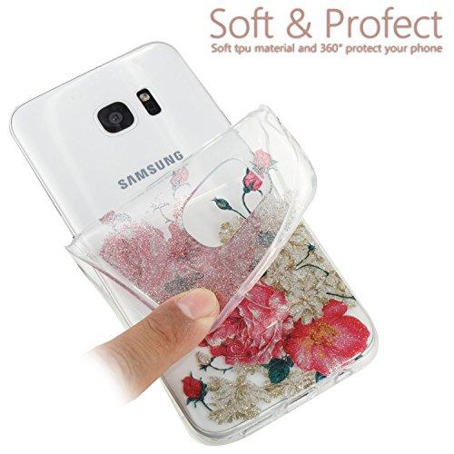 Samsung S7 Edge Funda, Galaxy S7 Edge TPU Case Cover, NEWSTARS Lujo Bling Bling Glamour Brillante Glitter Flamenco Unicornio Mariposa Flor Diseño Funda Carcasa Ultra Delgado Resistente a los Arañazos  B Glitter TPU 7