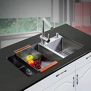 Edelstahl Spüle Spüle Küche unter Zähler Becken mit doppelten Tröge ...