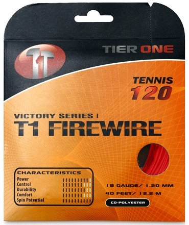 Tier One T1-Firewire Co-Polyester Tennis String (Red, 18 Gauge (1.20 mm) - 12.2 m Set)