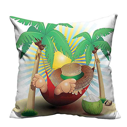 YouXianHome Home DecorCushion Covers Relax Exotic Summer Holidays Hammock Theme Hot Paradise Lands Comfortable and Breathable(Double-Sided Printing) 12x16 ()
