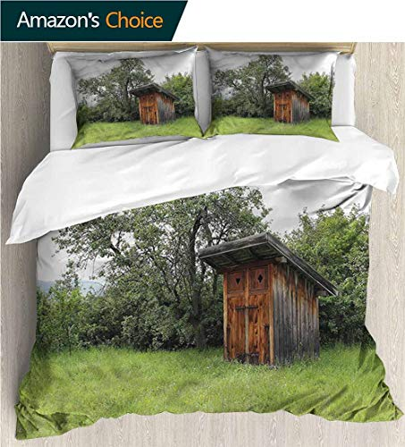 carmaxs-home Kids Quilt 3 Piece Bedding Set,Box Stitched,Soft,Breathable,Hypoallergenic,Fade Resistant with Sham and Decorative 2 Pillows,Full Queen-Outhouse Wooden Hut in Forest (87
