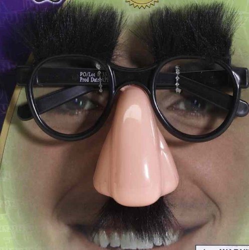 [Groucho Glasses: Nose, Eyebrows And Fuzzy Mustache Glasses] (Fuzzy Nose)