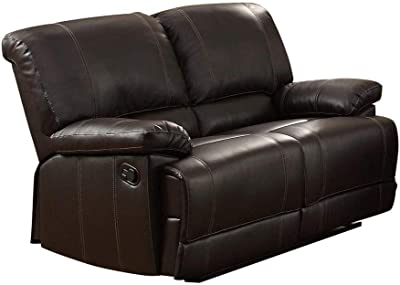 Cadoret Double Reclining Love Seat in Dark Brown Leather