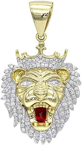 116db4cebf2 Men s 10K Solid Gold Diamond King Lion Head Pendant 1.2ctw by Luxurman