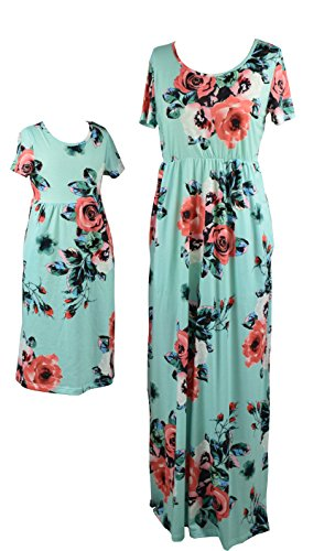 Mommy And Me Easter Dresses (Qin.Orianna Mommy and Me Maxi Dresses,Bohemia Floral Printed Matching Dresses for Daughter and Mom (Child 6T, Green))