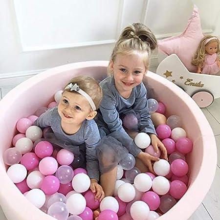 MEOWBABY 90X40cm//300 Balls /Ø 7Cm Baby Foam Ball Pit Ball Pool Certified Made in EU Black