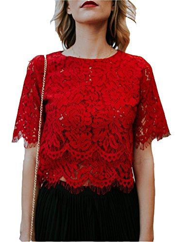 MarcoJudy Womens Short Sleeve Slim Fit Floral Lace Blouse Crop (Red Lace Top)