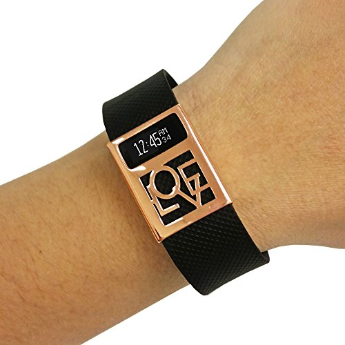 Premium Unisex Stainless Steel Fitbit Charge/Charge HR Slide On Accessory - The LOVE CHARGED Metal Cover to Protect & Enhance Your Fitness Activity Tracker (Rose Gold, Fitbit Charge/Charge - Metal Bands A-z