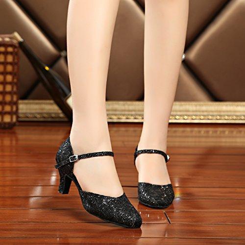 Toe Dance Ballroom Satin Single Pumps MINITOO Taogo 3 UK 5 Round Black Strap Shoes Wedding TH160 Ladies Latin f7twq