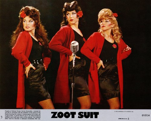 Zoot Suit original lobby card three girls at mike