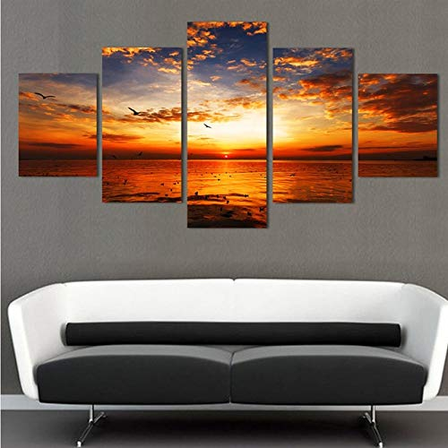 BeesClover 5d DIY Diamond Painting 5pcs Full Square,Cross Stitch Pictures,Cross Stitch,Diamond Painting sea,Sunset,Mosaic Home Decoration Size B 5pcs by BeesClover (Image #1)