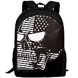 CY-STORE America Flag Skull Outdoor Shoulders Bag Fabric Backpack Multipurpose Daypacks For Adult
