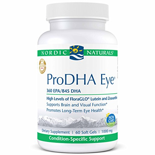 (Nordic Naturals ProDHA Eye - Fish Oil, 360 mg EPA, 845 mg DHA, 20 mg FloraGLO Lutein, 4 mg Zeaxanthin, Support for Neurological Function and Long-Term Eye Health*, 60 Soft Gels)