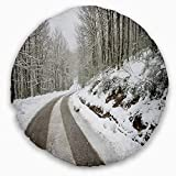 Designart CU14646-20-20-C Snow Storm at Piornedo Spain' Landscape Printed Throw Cushion Pillow Cover for Living Room, Sofa, 20'' Round