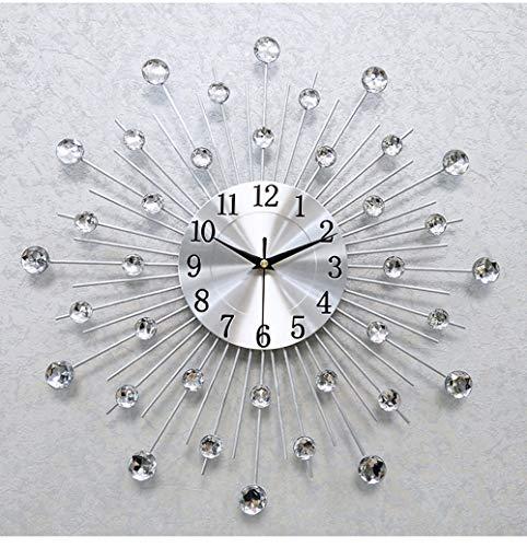 HYXZ Vintage Metal Crystal Sunburst Wall Clock Luxury Diamond Large Morden Wall Clock Clock Design Home Decor(Silver,4545)