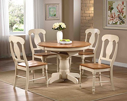 Iconic Furniture W T-CL BS-RD42-W CH53-CL-BI  , 60, Caramel Biscotti - Round Butterfly Leaf Table