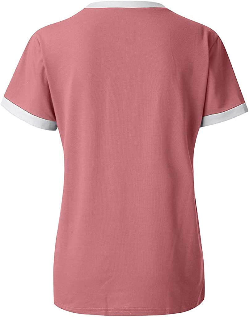 Leaf2you Women Short Sleeve T-Shirt Good Letter Print Shirts Casual Blouse Tops Round Neck Soft Comfy Rainbow Graphic Tees