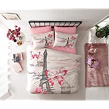 Deconation 100% Cotton Comforter Set Single Twin Full Size Paris Pink Cream Eiffel Tower Butterfly Theme Bedding Linens Quilt Doona Cover Sheets (Single / Twin)