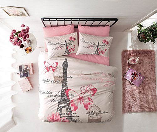 Deconation 100% Cotton Comforter Set Single Twin Full Size Paris Pink Cream Eiffel Tower Butterfly Theme Bedding Linens Quilt Doona Cover Sheets (Full)