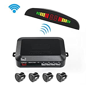 Parking Sensor Reversing Kit, 2.4G Wireless Car Vehicle Reverse Backup Radar System Driving Security Device Auto Rear Alert LED Display with 4 Sensors Alarm/Buzzer Reminder for Safe Driving