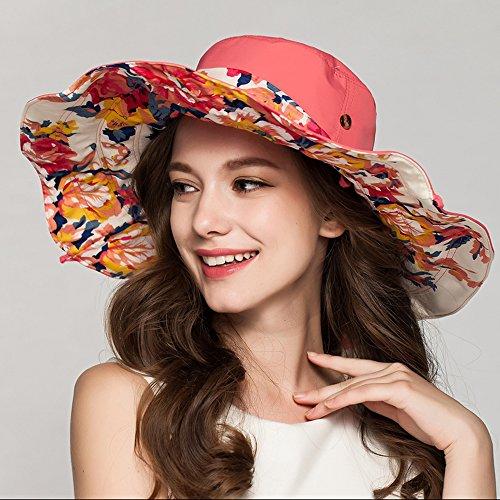 Womens Hats Caps - Garrelett Double-sided Large Brim Floppy Foldable Sun Hat Canvas Visor Beach Cap for UV Protection Melon - Stores Capitola