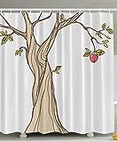 JIEKEIO Wedding Gift Tree of Heaven Adam's Apple Adam and Eve Love Symbol Design Simple Special Designed Cozy Peculiar Decor Bathroom Set Print Fabric Shower Curtain - Red Green Taupe White
