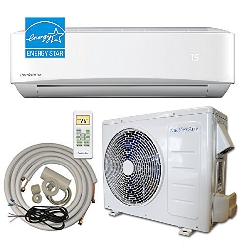 DuctlessAire 24,000 BTU 21 SEER Energy Star Ductless Mini Split Air Conditioner and Heat Pump Variable Speed Inverter 220V, Complete 25ft Installation Kit
