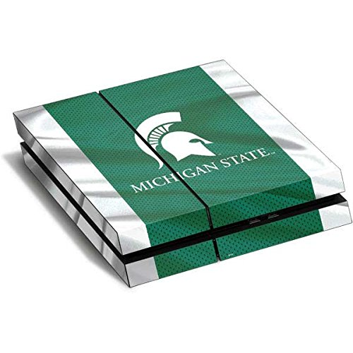 Michigan State University PS4 Horizontal (Console Only) Skin - Michigan State University Away Grey Jersey Vinyl Decal Skin For Your PS4 Horizontal (Console - Gray Away Jersey