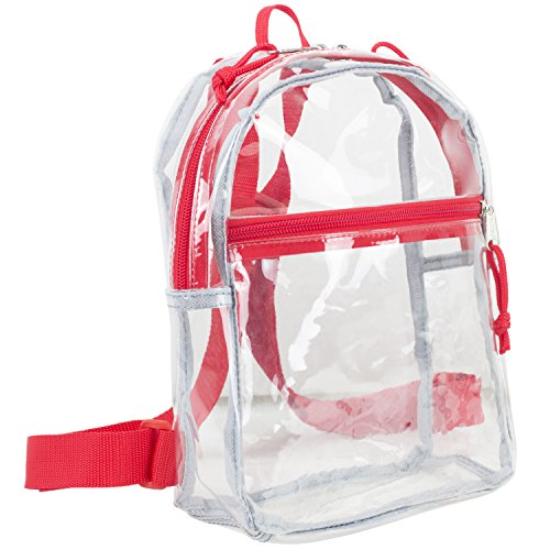 Eastsport 100% Transparent Clear Mini Backpack with Adjustable Straps, - Back Mini Strap
