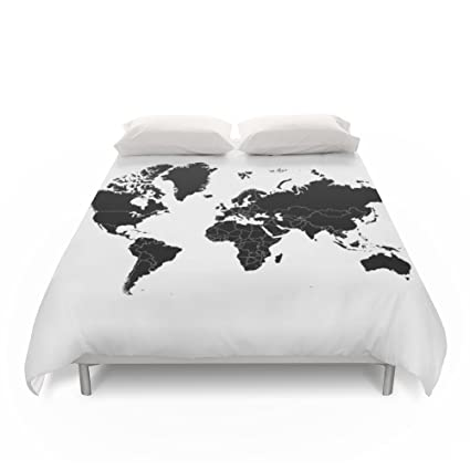 society6 minimalist world map black on white background duvet covers queen 88