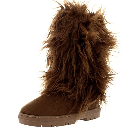 Womens Long Covered Rain Winter Warm Tall Snow Boots - 7 - TAN38 EA0376