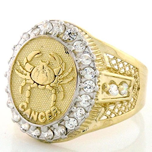 14k Solid Yellow Gold Mens Zodiac CZ Ring - Cancer - Size 9.00 14k Zodiac Sign Ring