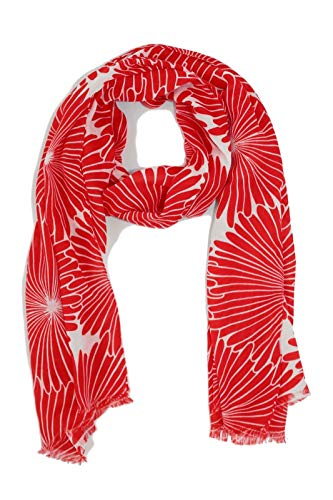 J. Crew Factory - Women's - Deco Tropical Floral Fringe Scarf (Red/White) ()