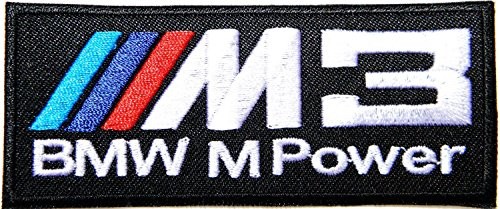 BMW M3 M POWER Logo Sign Car Racing Patch Iron on Applique Embroidered T shirt Jacket Custom Gift BY SURAPAN (E36 M3 Trunk Badge)
