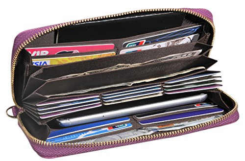 Easyoulife Women's Wallet Clutch Leather Card Wallet 20 Card Slots RFID Blocking (Big Wallet)