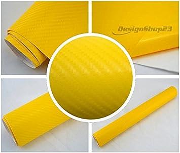 100 x 152 cm flexibel Blasenfrei Auto Folie gelb 9€//m² 4D Carbon Folie