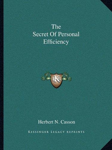 The Secret Of Personal Efficiency pdf