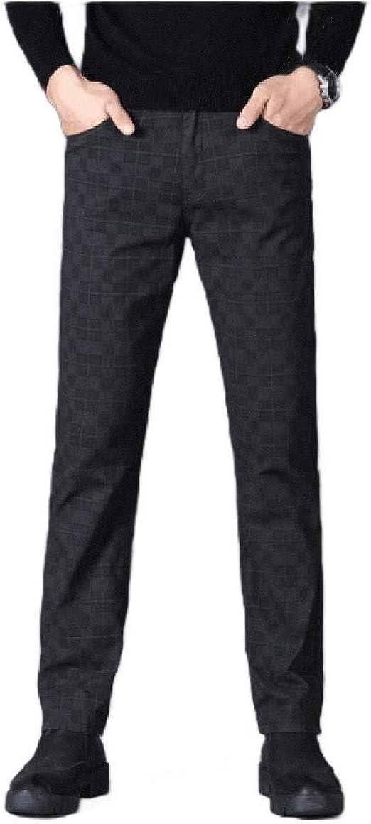 Romancly Men's Plaid Casual Slim-Fit Straight Leg Classic-Fit Pants Work Pant