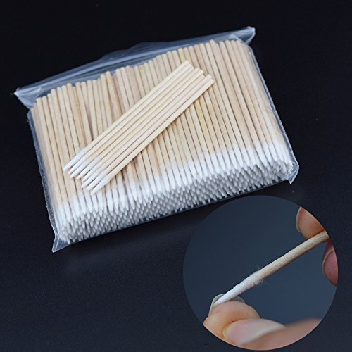 300pcs/pack Short Wood Handle Small Pointed Tip Head Cotton Swab Eyebrow Tattoo Beauty Makeup Color Nail Seam Dedicated Dirty Picking Pack of - Pointed Tip