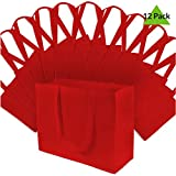 16x6x12' 12 Pcs. Large Red Reusable Grocery Bags, Shopping Bags with Handles, Gift Bags, Merchandise Bags, Fabric Tote Bags, Foldable, Strong and Eco Friendly